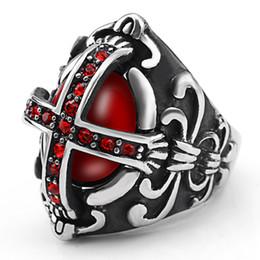 2019 алмазный крест из нержавеющей стали Европейские и американские новые старинные ювелирные изделия готический хипстер мужской крест кольцо из нержавеющей стали кольцо с красным бриллиантом скидка алмазный крест из нержавеющей стали