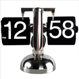 2019 tirer l'horloge Horloge à bascule Creative Europe Horloges de table rétro Haute qualité Page Tournage Vintage Horloge numérique Salon Chambre Chambre Horloges tirer l'horloge pas cher