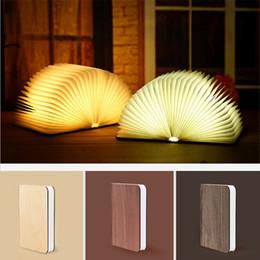 Decoración del hogar de madera online-lámpara de libro de madera recargable portátil USB LED de luz magnética regulable plegable Night 3D lámpara de escritorio Booklight del regalo de la decoración del hogar
