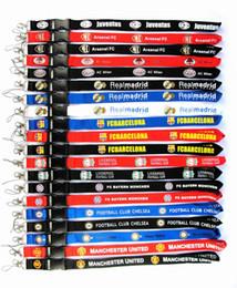badge della squadra di calcio Sconti 10pcs uomini caldi di calcio cordicella per Keys ID Badge contenitori 10 squadre Coccer Club cinghie mobili del telefono