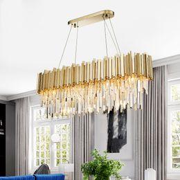 Lüks dikdörtgen kristal avize yemek odası için modern avizeler aydınlatma altın cilalı çelik hanglamp mutfak ada lamba FEDEX nereden sıcak ev elbisesi tedarikçiler