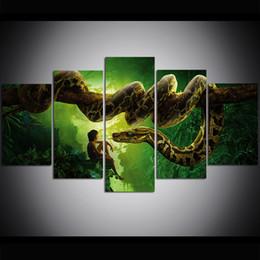 pinturas da selva Desconto 5 Peça Grande Tamanho Da Arte Da Parede Da Lona de Arte Livro de Selva Python Oil Painting Wall Art Pictures para Sala de estar Pinturas Decoração Da Parede