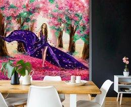 Blaue blumenmalereien online-[Selbstklebend] 3D Blue Girl In Flowers 38592 Fototapete Wall Print Decal Murals