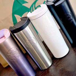 Copas para parejas online-Nueva moda Starbucks cup 2019 moda lavanda polvo púrpura gradiente diosa taza de acero inoxidable café que acompaña a la pareja taza