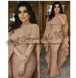 zipper club Promo Codes - 2019 Luxury Mermaid Arabic Long Evening Dresses Jewel Neck Sequins Floor Length Middle East Prom Formal Party Dresses cheap custom made