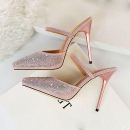 2019 bling pu zapatilla 2019 Verano Moda Mujer 11 cm Tacones Altos Diapositivas Mujer Glitter Sexy Bling Mule Zapatillas Señora Crystal Scarpins Sandalias Zapatos bling pu zapatilla baratos