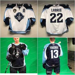 2019 pierre bianco Uomo New AHL Milwaukee Admirals Regular Season Jersey Indossato da # 22 Pierre-Cedric Labrie Hockey Maglie bianco Blu scuro sconti pierre bianco