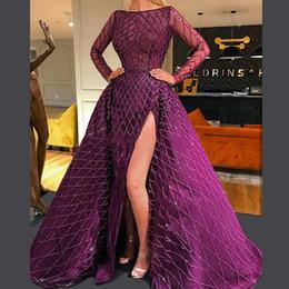 2020 veste il nuovo viola Prom con il treno staccabile a maniche lunghe laterale Split Overskirt abiti di sera vestito convenzionale da