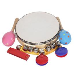 2019 artigos de plástico 8 pçs / set Brinquedos Musicais Instrumentos de Percussão Banda Rhythm Kit para Crianças Crianças Crianças E útil para desenvolver o talen musical de seus filhos