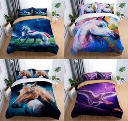 conjuntos de cama de cavalo de tamanho duplo Desconto Cavalo 3D Conjunto de Cama Cavalo Voador Impressão Capa de Edredão Set com Fronha Gêmeo Completa Rainha King Size 2 pcs / 3 pcs