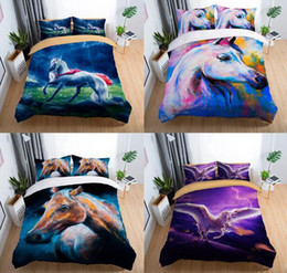 Juegos de cama de caballos reina online-Juego de ropa de cama de caballos 3D Flying Horse que imprime el juego de funda nórdica con funda de almohada Doble King Size 2pcs / 3pcs