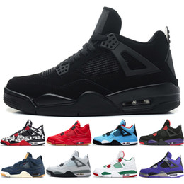 2019 zapatos púrpuras del satén 4 4s Tattoo Singles Day Zapatillas de baloncesto para hombre Travis Scotts Raptors Bred Cemento blanco Realeza Púrpura hombre deportes zapatillas de deporte diseñador US 5.5-13 zapatos púrpuras del satén baratos