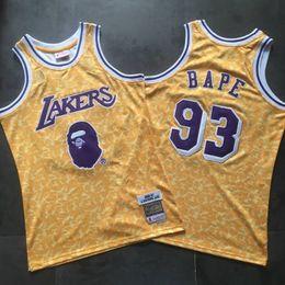 2020 camisa de bape Homens BAPExMITCHELL NESS Los AngelesLakers 93Bape Amarela-Bordado Jersey camisa de bape barato