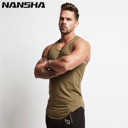 Nansha Mens Sem Mangas Verão Impressão Vq Algodão Tops Masculinos Ginásios Vestuário Undershirt Musculação Golds Tanque de Fitness C19042301 de Fornecedores de camisa holgada por atacado