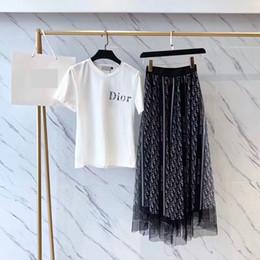 Marque Designer Femmes Lettre Robes Ensemble 2019 Été De Mode Col Rond T Chemises Taille Haute Imprimé Gaze Jupes Longues Casual Outfit ? partir de fabricateur