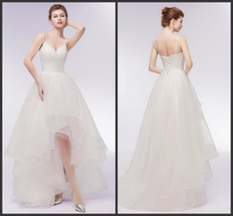 2019 robes de mariée plumes sans bretelles 2019 New Special Design High Low A Line Wedding Dresses Sexy Spaghetti Straps Tulle Summer Wedding Bridal Gowns