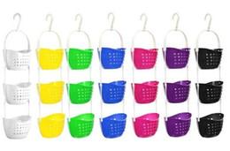 Acessórios de chuveiro de plástico on-line-Multifuncional pendurado cesta de armazenamento de 3 camadas chuveiro cesta de plástico colorido cestas de frutas vegetais acessórios do chuveiro de cozinha
