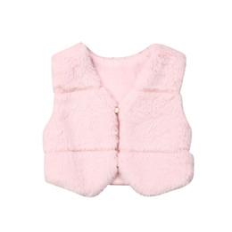 Coleira pele rosa on-line-Focusnorm Moda 0-3 anos de criança bebê caçoa meninas Inverno Quente Faux Fur Vest Colete Tops rosa Casacos Casacos