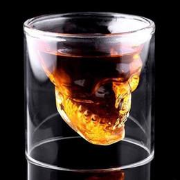 cabeza de cráneo vodka vasos de chupito Rebajas Creativo 3 tamaños Cabeza de calavera Copa de vino Diseñador Cristal Whisky Vodka Shot Glass Cerveza transparente Whisky Copas de vidrio para Bar Club Party