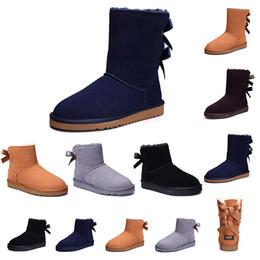 Botas de neve roxas para mulheres on-line-ugg Quente 2019 inverno wgg botas triplo preto cinza roxo rosa tênis de couro mulheres austrália clássico ajoelhar metade botas de neve longa