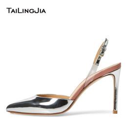 Туфли закрытые для дам онлайн-Womens Pointed Toe High Heels Sliver Slingback Pumps Nude Patent Leather Closed Toe Heeled Slingbacks Ladies Bridal Shoes 2019