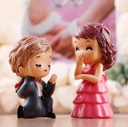 Figurine di matrimonio online-Proporre Matrimonio Tema Sposa e Sposo Coppia Figurine Miniature Sposami Ornamenti Artigianato Fata Giardino Bonsai Casa delle bambole