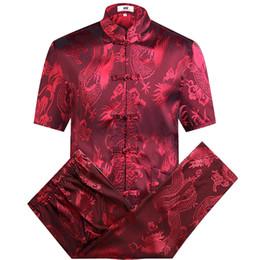 Costume de soie rouge en Ligne-Costume Tang Rouge Ensembles Costume Traditionde Chinois à Manches Longues Pantalon Dragon Kung Fu Costume Haute Qualité Soie Wu Shu Tai Chi Ensembles