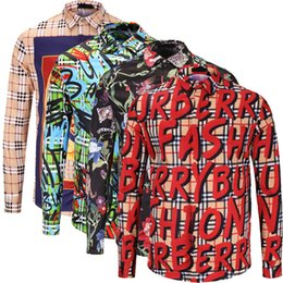 abiti di tartan all'ingrosso Sconti L'ultima moda della moda uomo Slim camicia a maniche lunghe da uomo a maniche lunghe stampa camicia da uomo casual cotone camicia Medusa