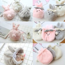Плюшевые держатели для телефонов онлайн-Fashion Women Girls Cute Rabbit Drawstring Plush Toiletry Cosmetic Bag Coin Card Money Holder Purse Phone Pouch Makeup Bag New