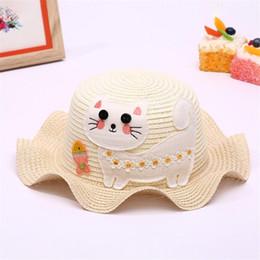 New Fashion Neonate Cartoon Gattino Flounced Trim Estate Fiore Sole  Adumbral Cappello di paglia Cappello da spiaggia per bambini regalo 5-12T cappelli  di ... fc5f7e1aef15