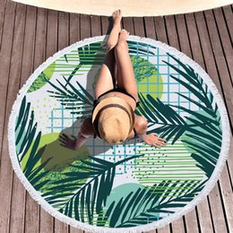 Bikini bedruckte handtücher online-Fertigen Sie ringsum Badetuch-Gitter-Blatt-Betriebsdruck-Polyester-Quasten-Sommer-Schwimmen-Tuch-Robe-Bikini-Vertuschungs-Picknick-Decken-Tabellen-Abdeckung besonders an