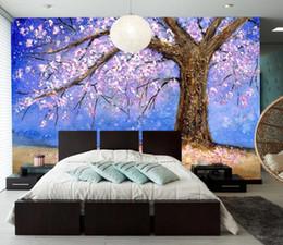 2019 mural de flores de pêssego Personalizado 3d mural papel de parede flor de pessegueiro árvore de pêssego caindo no papel de parede 3d mural para sala de estar mural de flores de pêssego barato