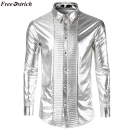 68998e47f7e0e0 breast sexy shirt 2019 - FREE OSTRICH Men's Fashion Sexy Slim Solid Color  Glossy Long Sleeve
