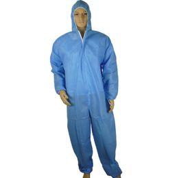 2019 ropa de soldadura Desechable no tejido SMS ropa protectora espesa de una sola pieza de ropa ropa de trabajo a prueba de agua y aceite a prueba de aislamiento capucha protectora