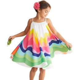 suspenders vest Promo Codes - 2019 New Girls Chiffon Rainbow Printed Princess Dress Kids Summer Sleeveless suspender A line Vest Dresses Children boutique clothes