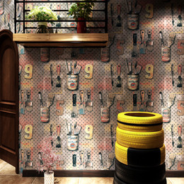 shop country kitchen Promo Codes - 3D Vintage personality industrial style wallpaper letters wrought iron metallic fashion tide wall cover decor home shop wall