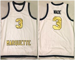 d6f68511dd1a Marquette Golden Eagles College Dwyane Wade  3 White Retro Basketball Jersey  Mens Stitched Custom Any Number Name Jerseys