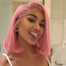 pink full lace human hair wigs Promo Codes - Short Pink Lace Wig Pre Plucked Brazilian Remy Human Hair Straight Short Bob Cut Full Lace Human Hair Wig For Women