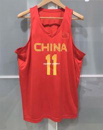 Billige china jersey s online-Günstige Großhandel CHINA BASKETBALL YI JIAN LIAN JERSEY RIO OLYMPISCHER FIBA CBA T-Shirt Weste genäht Basketball Trikots Ncaa