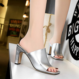 cee3da8e2689a Woman high heels Slippers Shallow Pointed toe Mules summer Sandals chunky heel  Slides Shoes fashion sandalias mujer silver black on sale