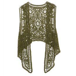 Canada Jastie Asymétrique Point ouvert Cardigan Été Plage Boho Hippie Personnes Style Crochet Tricot Broderie Blouse Gilet Sans Manches Y190510 supplier crochet embroidery stitch Offre