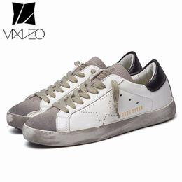 VIXLEO Designer Italia Cuoio DELL UNITÀ D OVENTO Uomini Casual scarpe da  ginnastica super Star oca sporca Scarpe Calzature Zapatillas cestino femme  36-44 4e13fa9b0ab