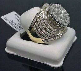 Anéis chapeados on-line-Estilo quente agir o papel ofing é provado homem anel banhado a ouro com diamante gigante anel masculino dominador size7-11