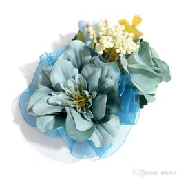 artificial jewelry wedding Promo Codes - 9pcs lot Handmade Artificial Cloth Flower Brooches Corsage Suit Brooch Pins For Women Men Wedding Jewelry Accessories