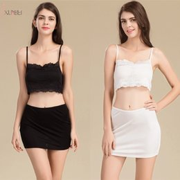 Underskirt curto preto on-line-Branco Preto Short Petticoat Underskirt Mulher Metade Desliza Underdress Under Vestido Underwear Casamento