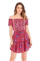 269e0a73f4ef76 ... New Arrival Slash Neck Printed Women Summer Dresses Holiday Beach Dress  Short Fashion Casual Women Skirts affordable womens beach cotton summer  dresses