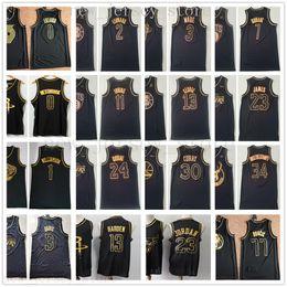 Ouro de qualidade masculina on-line-Cheap Wholesale costurado ouro Jersey Top Quality Mens Homem Ouro Preto Jersey Tamanho S M L XL XXL frete grátis