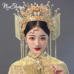 Joyería del pelo de la novia china online-Joyería Accesorios para el cabello boda NiuShuya estilo chino antiguo novia Headwear Golden Phoenix corona largo Tassles pelo nupcial
