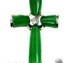 Cruz verde jade collar colgante online-collar Envío gratis ++++ New-Beautiful-Green-Jade-Cross-Pendant-Necklace