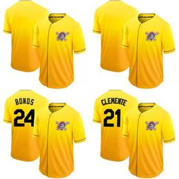 2019 New Mens Fade Pittsburgh 24 Barry Bonds 21 Роберто Клементе 6 Starling Marte 55 Джош Белл 50 Jameson Taillon Pirates Трикотажные изделия для бейсбола от